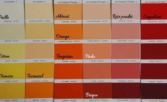 palette de couleurs jaune orange rouge